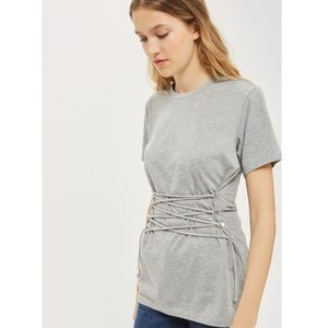 topshop gray lace up corset tee women's size 2